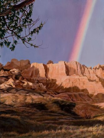 "We would like to congratulate former Badlands Artist in Residence Harold Nelson. This beautiful painting was his winning entry in the ""Paint the Parks"" show presented by the Coutts Museum of Art. Harold takes great pleasure in sharing his experience and expertise with others through sculpture and painting. From the Park's Facebook page."